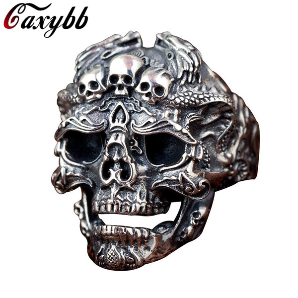 Bague large skull n steel