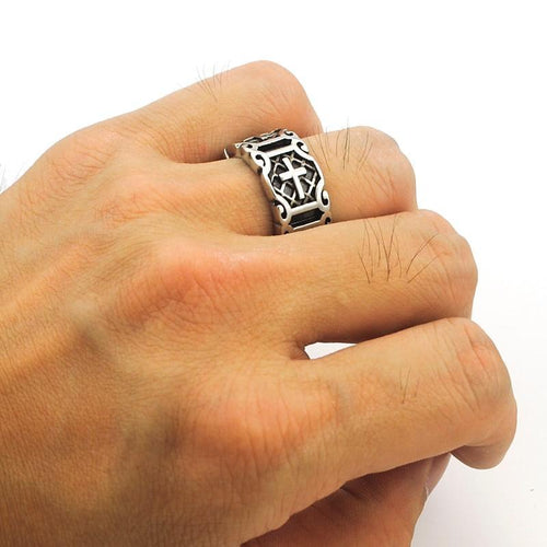 Retro Christian Cross Ring