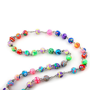 Colorful Rosary Bead Pendant Necklace