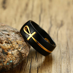 Two Tone Cut Cross Ring