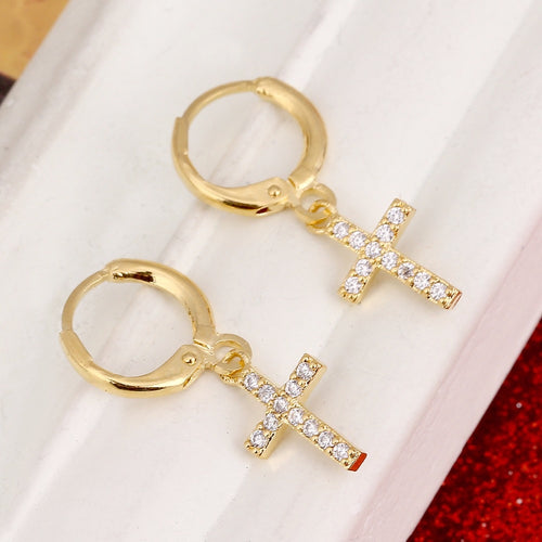 Small Cross Stone Earrings