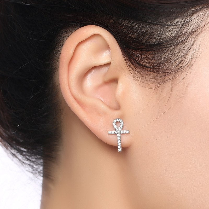 Cross Drop Pendant Earrings