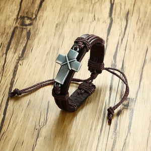 Cross Leather Rope Bracelet