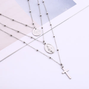 Multilayer Cross Virgin Mary Necklace