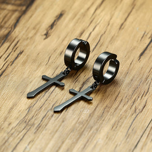 Hip Hop Cross Drop Earrings