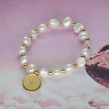 Load image into Gallery viewer, Bible Charm Pearl Strand Bracelet