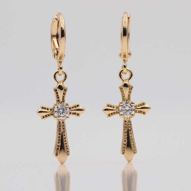 Natural Cross Dangle Long Earrings