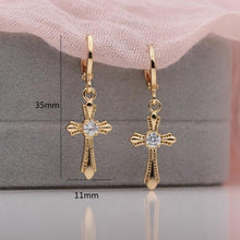 Load image into Gallery viewer, Natural Cross Dangle Long Earrings