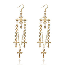 Load image into Gallery viewer, Christian Cross Drop Earrings