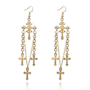 Christian Cross Drop Earrings