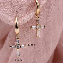 Load image into Gallery viewer, Cross Religion Long Earrings