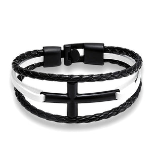 Vintage Leather Cross Bracelet