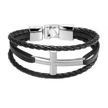 Load image into Gallery viewer, Vintage Leather Cross Bracelet