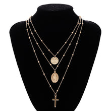 Load image into Gallery viewer, Multilayer Cross Virgin Mary Necklace