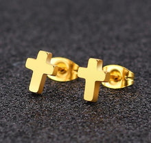 Load image into Gallery viewer, Holy Small Cross Earrings