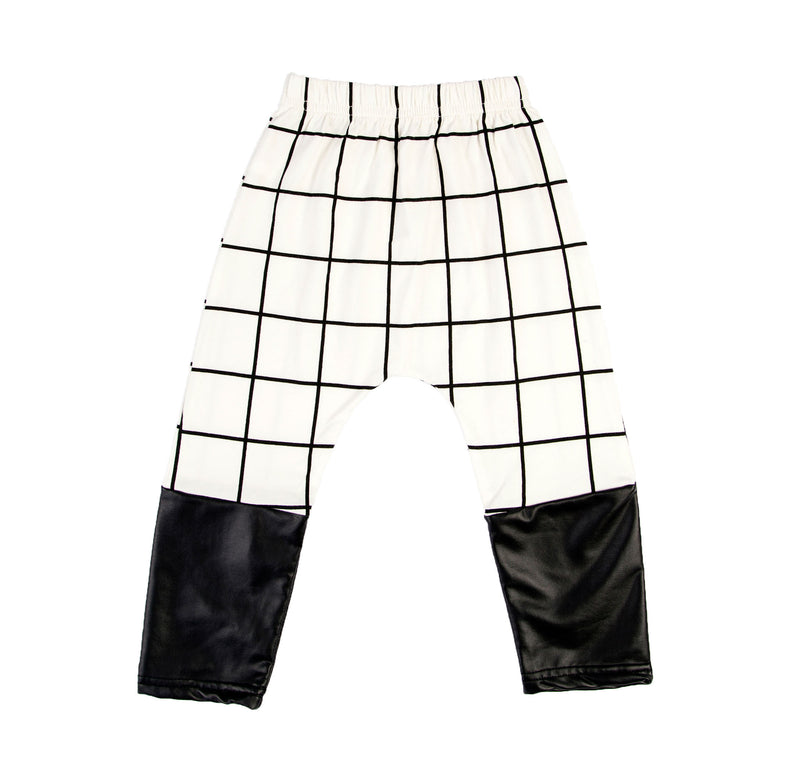 Kids Cream Black Check Pants
