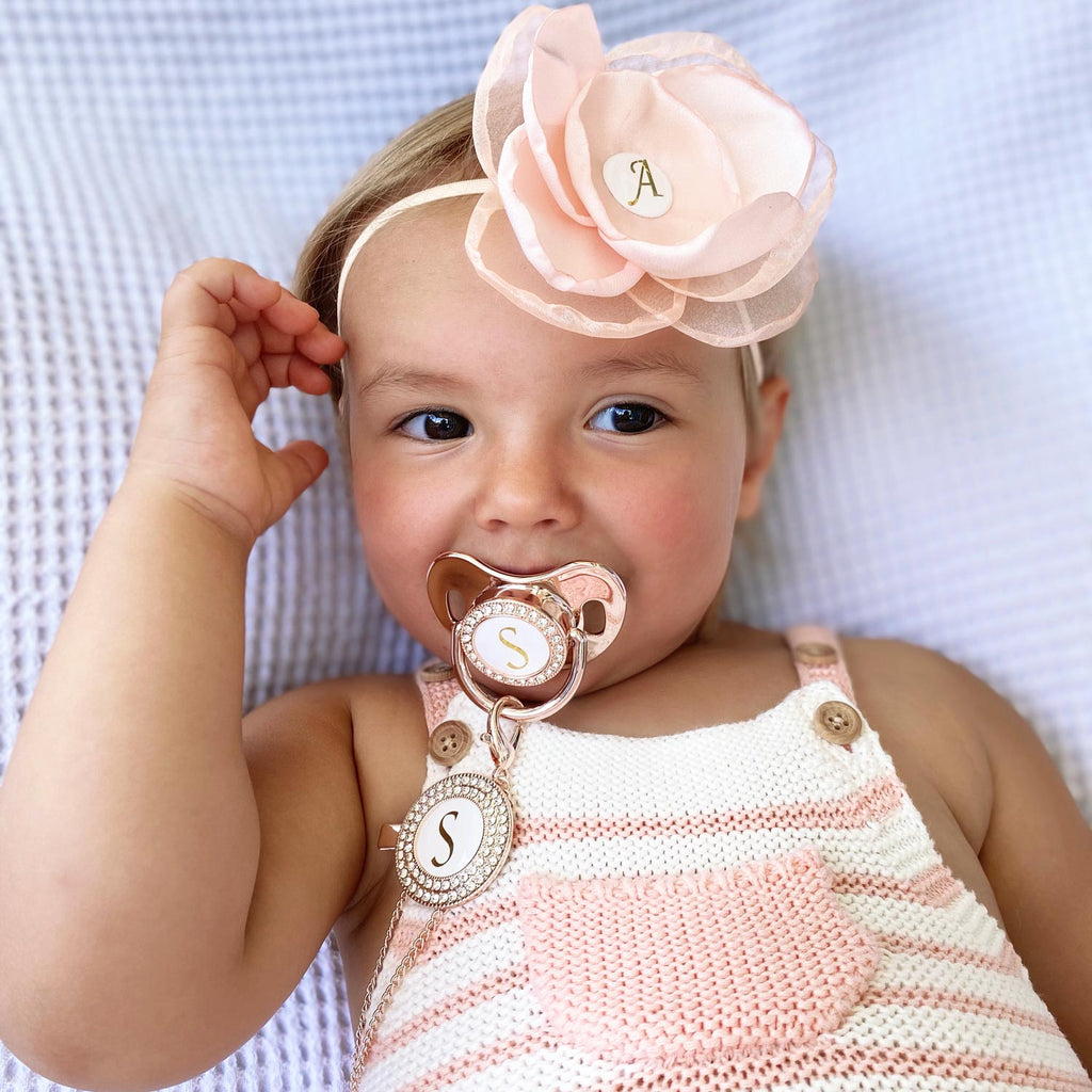 PERSONALISED (LETTER) PACIFIER + CLIP - ROSE GOLD