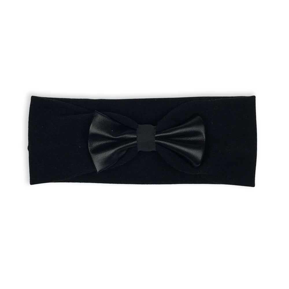 GIRLS STRETCH HEADBAND | FAUX LEATHER BOW