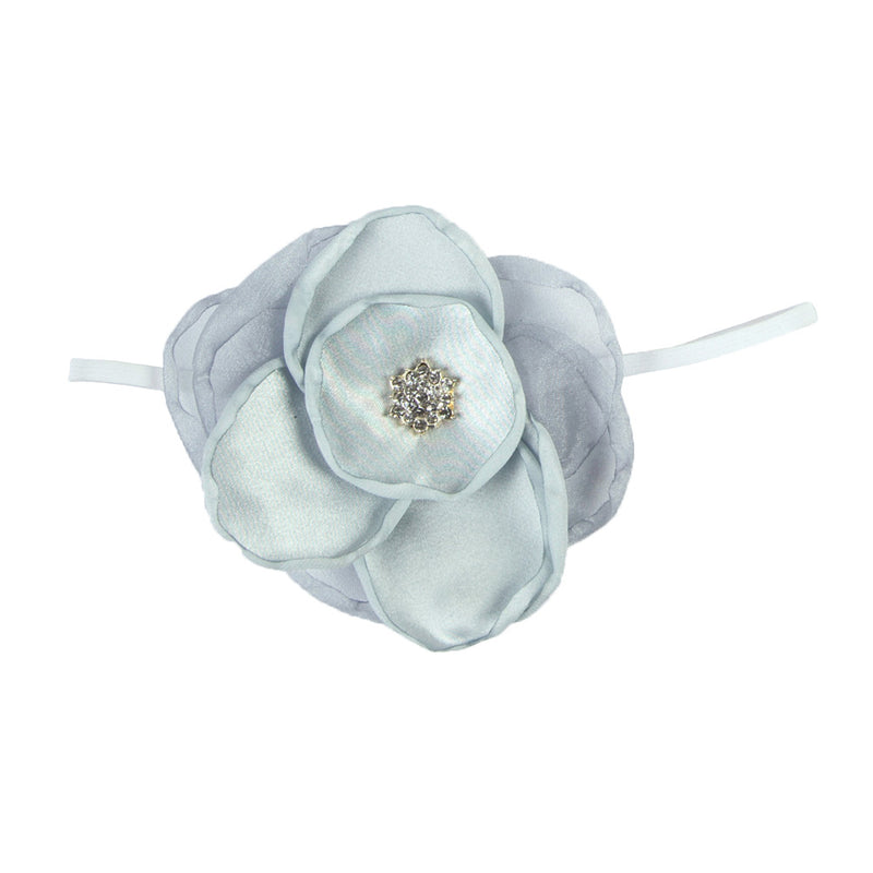 GIRLS LARGE FLOWER HEADBAND | SILVER