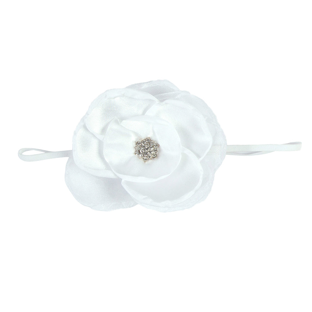 GIRLS LARGE FLOWER HEADBAND | WHITE