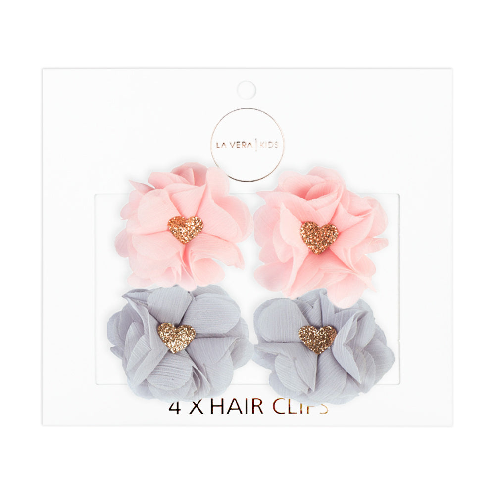4x HAIR CLIPS | PINK + GREY