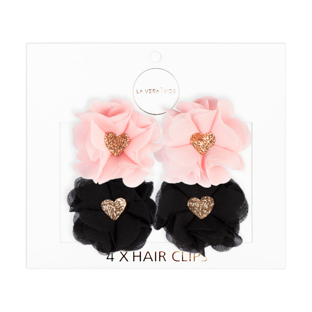 4x HAIR CLIPS | PINK + BLACK