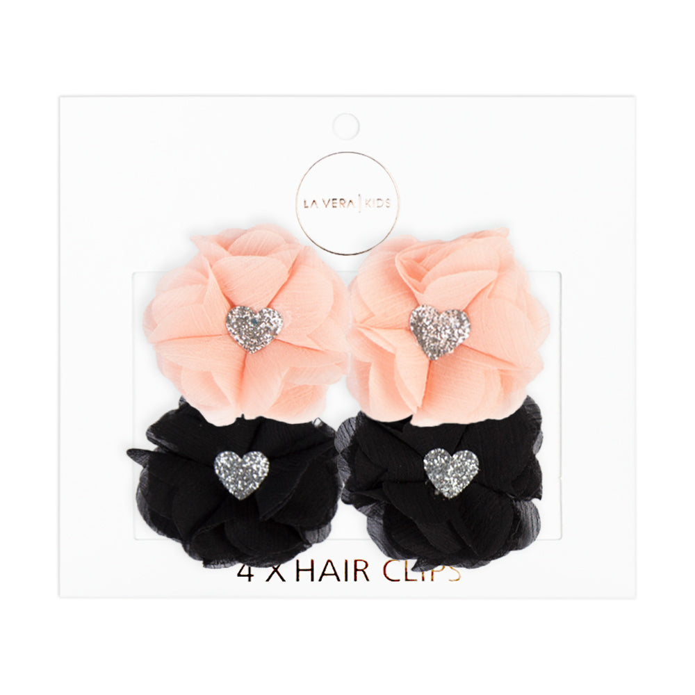 4x HAIR CLIPS | APRICOT + BLACK