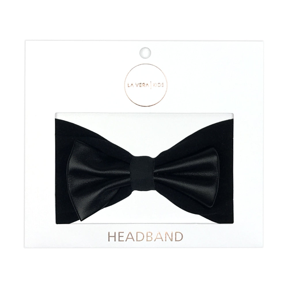 Girls FAUX LEATHER Bow Headband