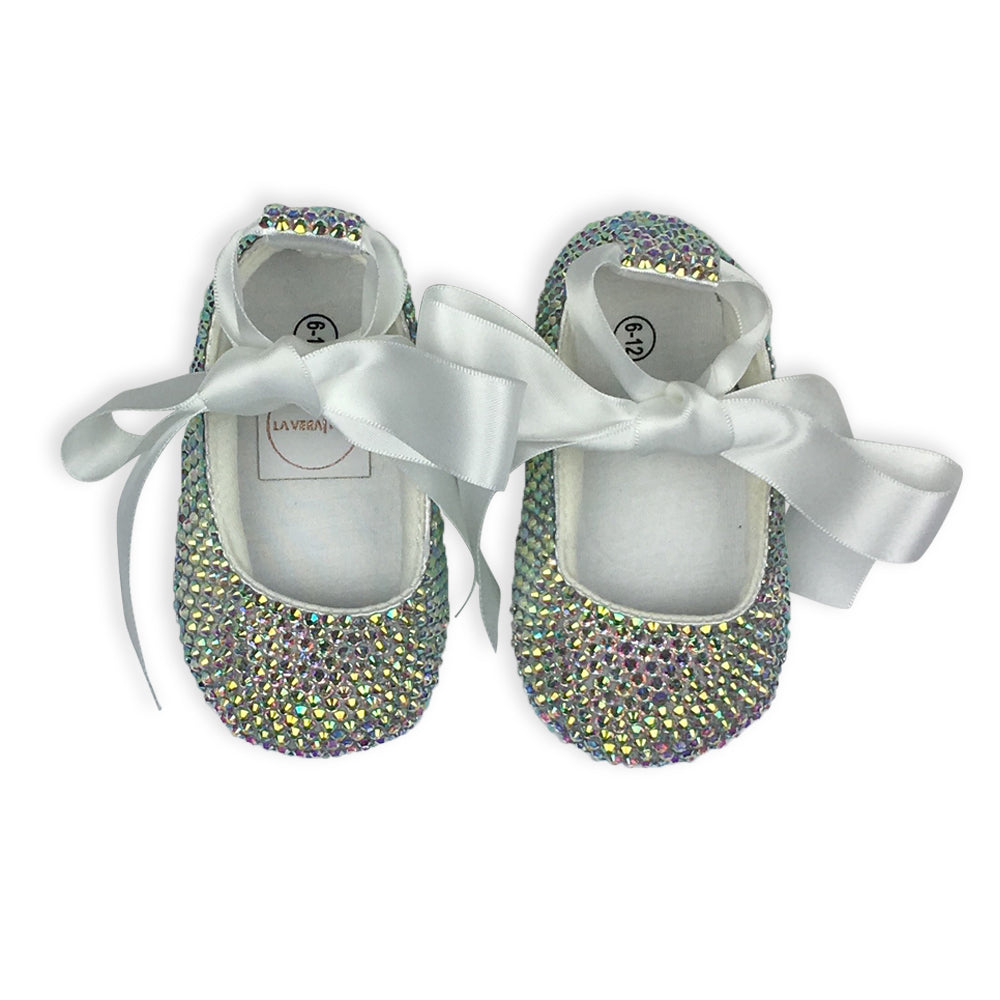 Crystal Baby Girl Shoes - Rainbow Clear