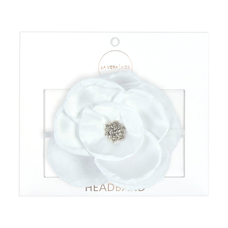Girls White Flower Headband
