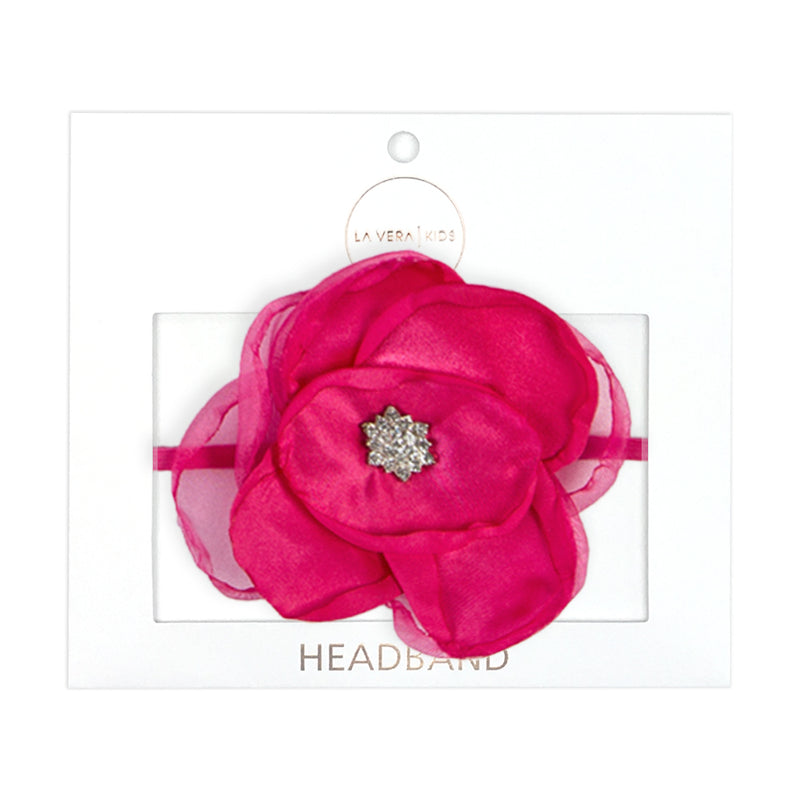 Girls Hot Pink Flower Headband