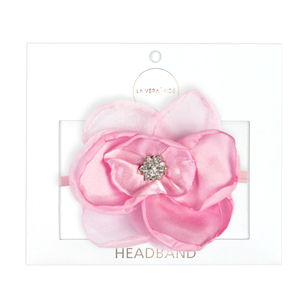 Girls Pink Flower Headband