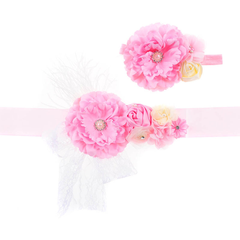 FLOWER BELT + HEADBAND SET | PINK