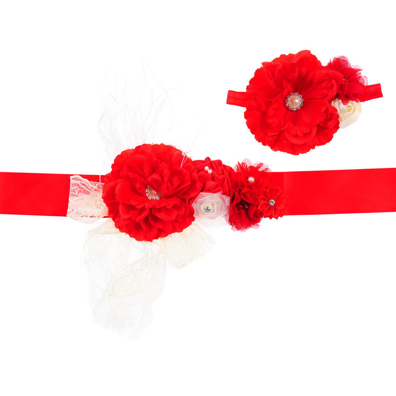 FLOWER BELT + HEADBAND SET | RED