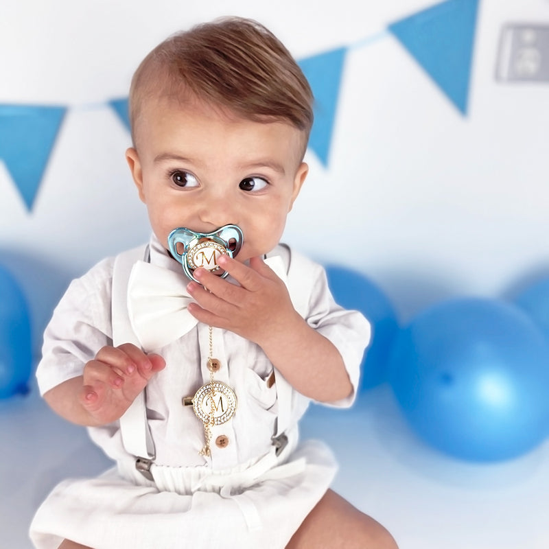 PERSONALISED (LETTER) PACIFIER + CLIP - METALLIC BLUE
