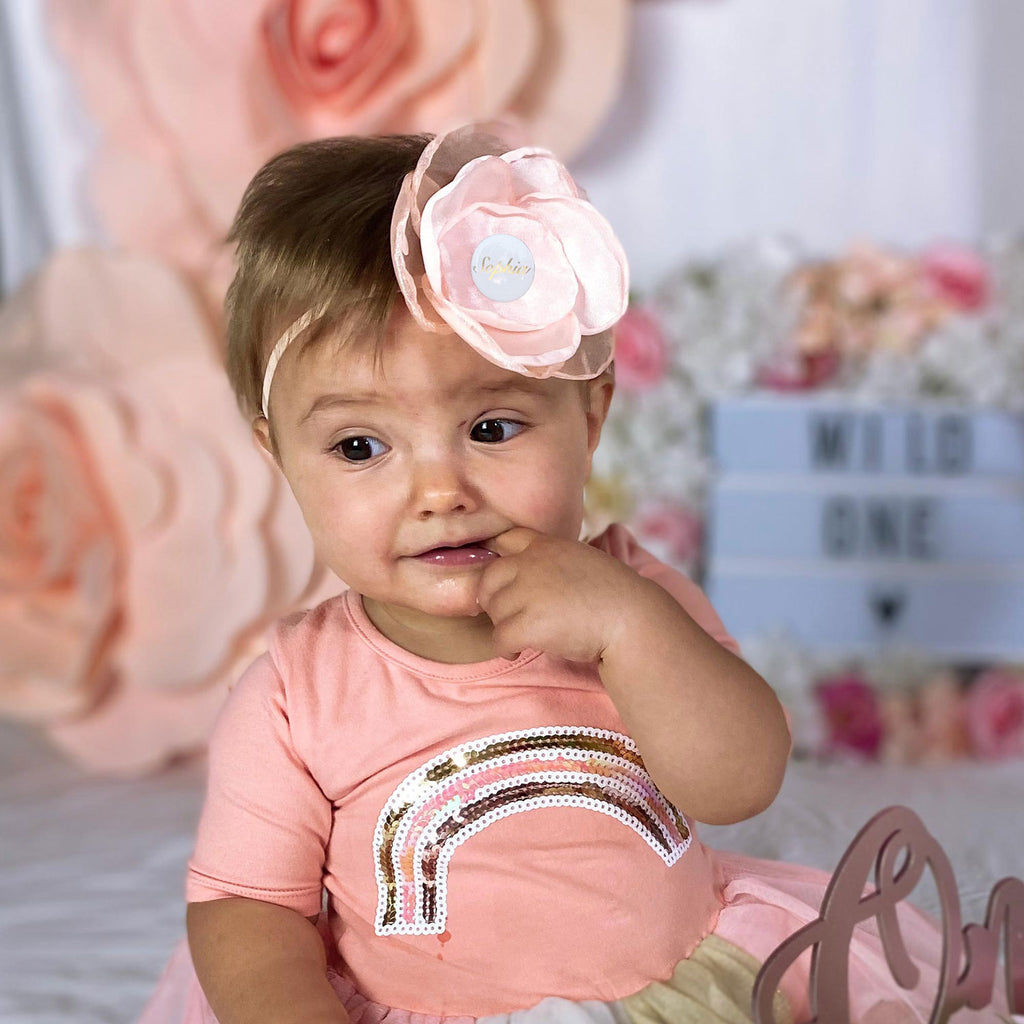 PERSONALISED (NAME) GIRLS HEADBAND - APRICOT