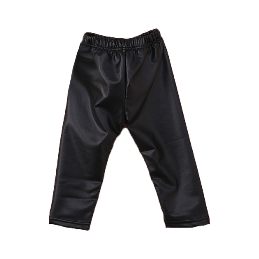 Kids Black Faux Leather Pants