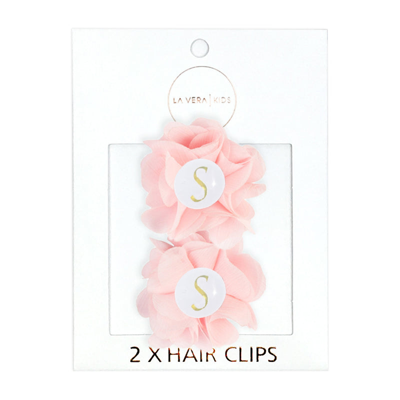 2x HAIR CLIPS PERSONALISED (LETTER)- PINK