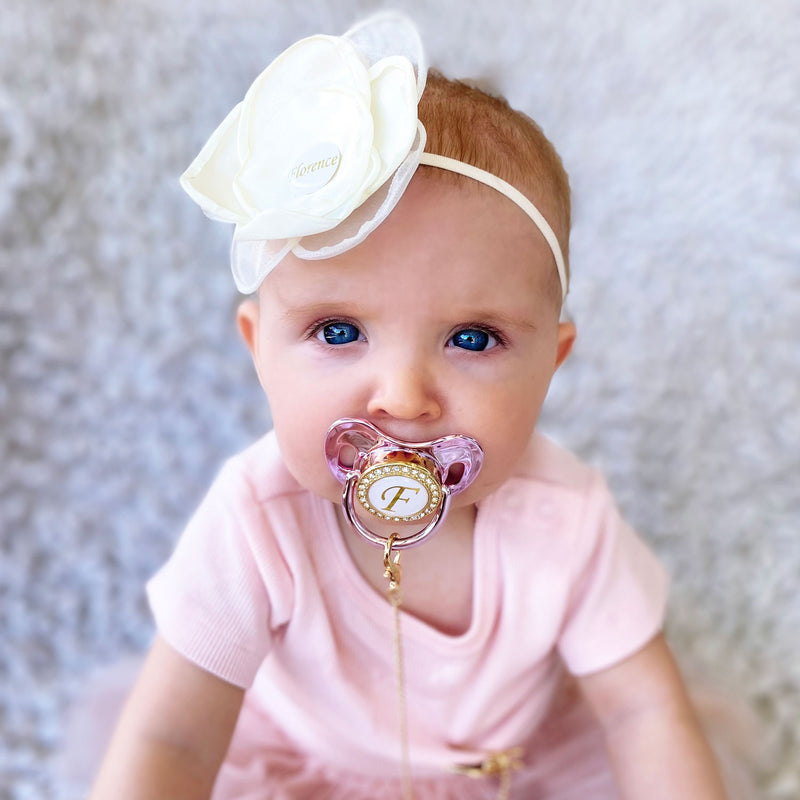 PERSONALISED (LETTER) PACIFIER + CLIP - METALLIC PINK