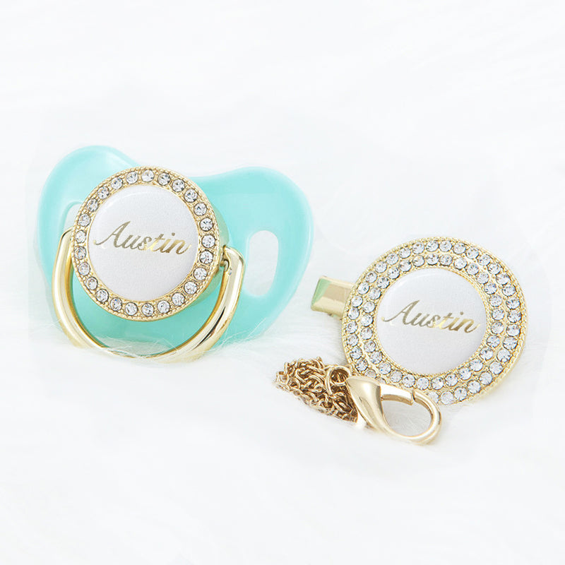 PERSONALISED (NAME) PACIFIER + CLIP - AQUA