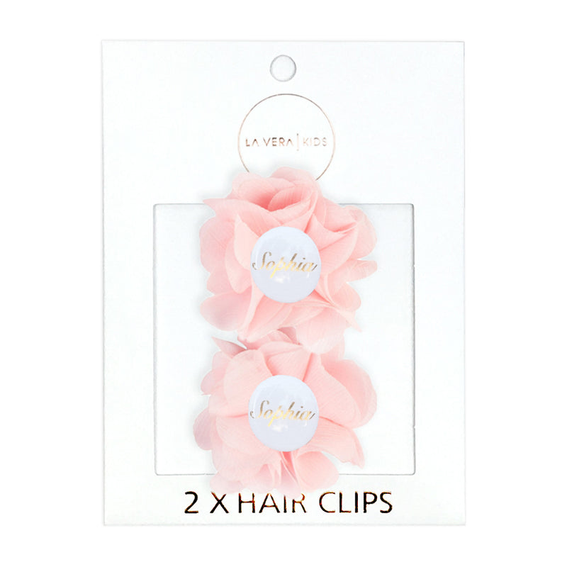 2x HAIR CLIPS PERSONALISED (NAME)- PINK