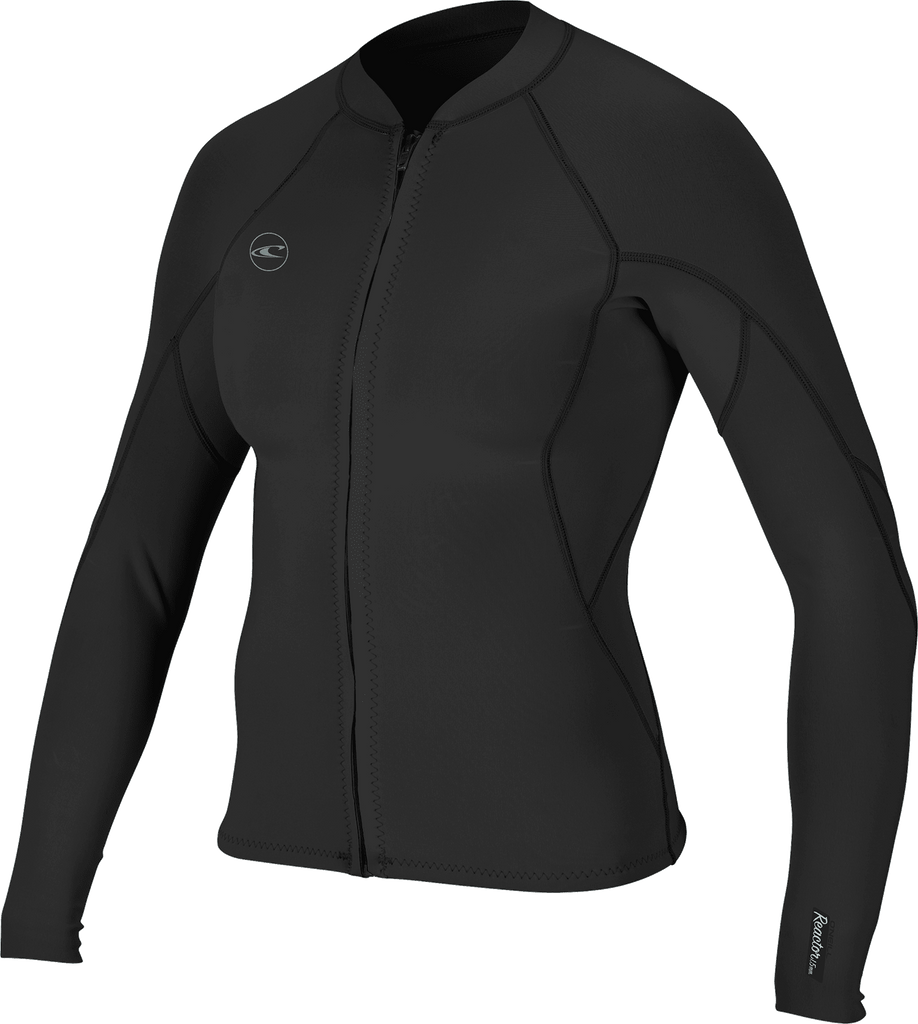 O'NEILL W WETSUIT JACKET REACTOR-2 1.5MM FULL ZIP BLK/BLK