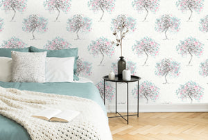 This gorgeous duck egg and pink removable wallpaper is a stunning choice for a bedroom wall. The soft painterly tree design with subtle accent colours and hints of metallic will add a dimension of comfort to your room.