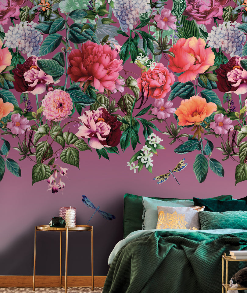 Majorelle is a large, bold, trailing floral digital wallpaper with a rich pink background