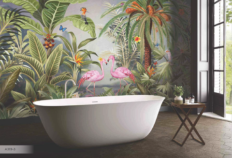 Gorgeous Floral Design with flamingoes and birds