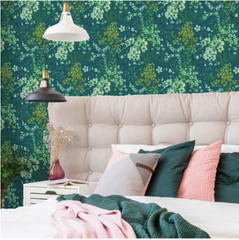Ayana wallpaper design is a soft green floral wallpaper that is perfect for a bedroom