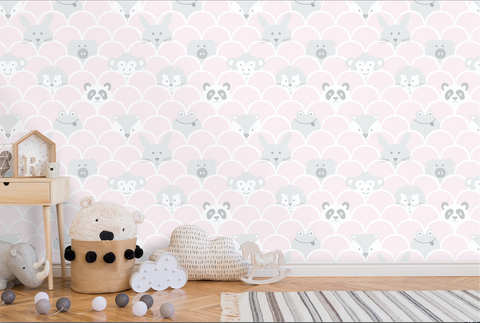 This cute pink scallop wallpaper design with sweet little animals playing peek a boo will engage any child!