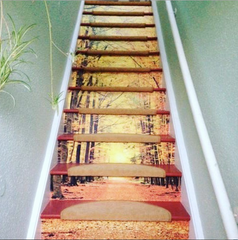 Stairway with Autumn leaves wall mural