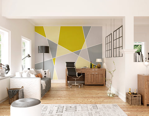 Pastel Geo Wall Mural in Yellow and Grey