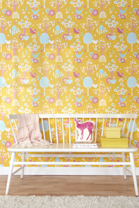 This bright and colourful pink and yellow pattern with turn any wall into a dreamy scene of wonderment.